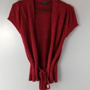 August Silk deep red cardigan size small
